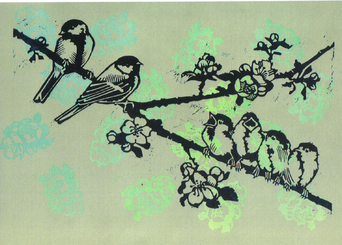Olivia Clifton-Bligh. 'GREAT TITS ON THE APPLE TREE'  Colour linocut 65x52cm
