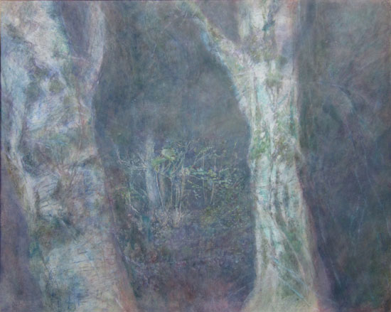 Philip Leevers. 'TWO BIRCHES, NIGHT' Oil on paper  530 x 695 mm