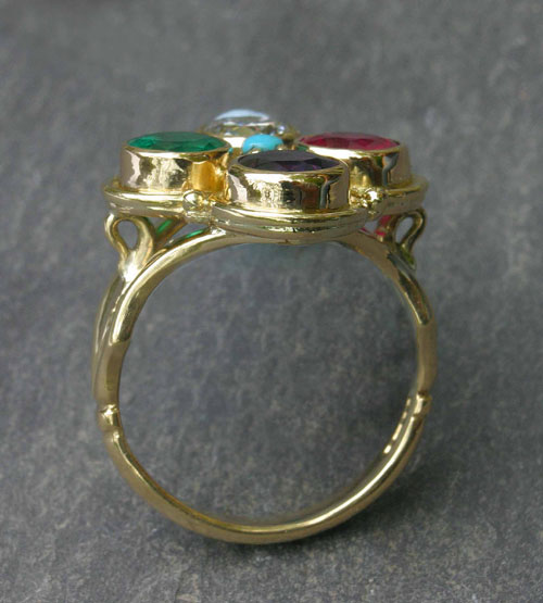 Stephanie Gilbert. 'RING'  Side view. Gold and stones