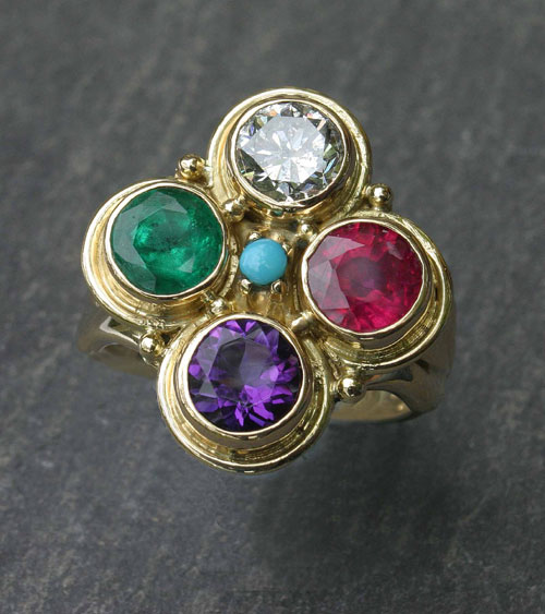 Stephanie Gilbert. 'RING'  Top view. Gold and stones